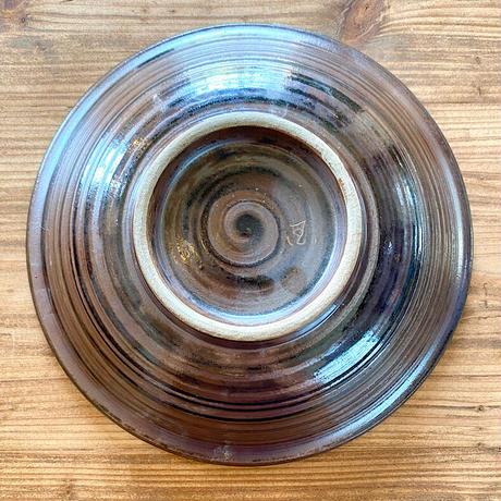 【壺屋焼き】國場陶芸 赤絵 8寸皿 グリーン