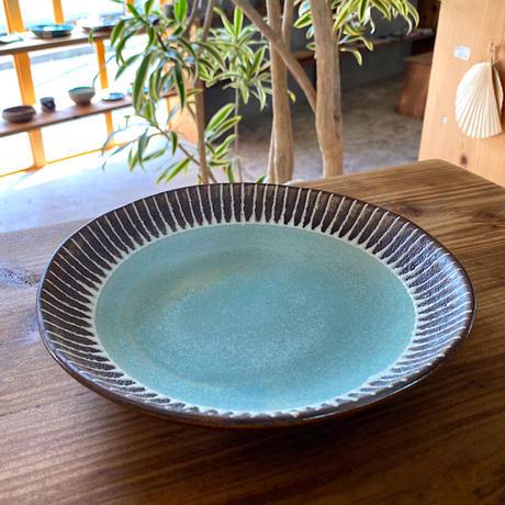 【眞正陶房】大人のやちむん7寸皿 マカロン ライトブルー
