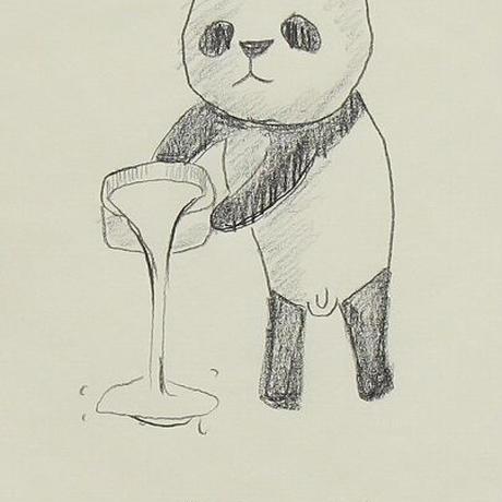 牛乳をそそぐパンダ
