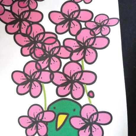 プリント・コットンバッグ 【枝垂れ梅と鳥】
