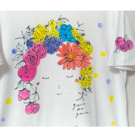Tシャツ(Lサイズ・シルクスクリーン&ペイント) 〔Spirito floreale 花の精〕