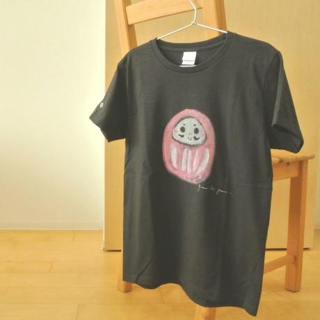 手描きTシャツ(Lサイズ・フルペイント) 〔濃グレー・だるま〕