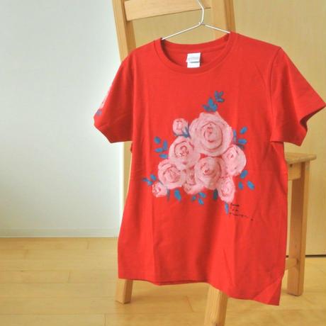 手描きTシャツ(Mサイズ・フルペイント) 〔あか・バラ〕