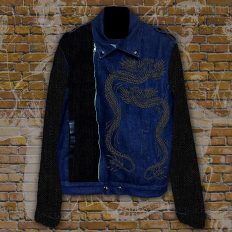 DOUBLE DRAGON -Embroidered Denim Jacket-