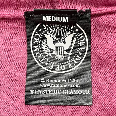 HYSTERIC GLAMOUR × RAMONES フルジップニットパーカー ピンク Mサイズ