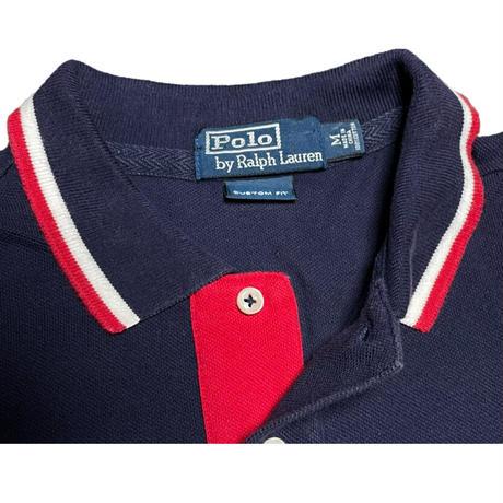 Polo by Ralph Lauren CUSTOM FIT 襟ライン半袖ポロシャツ ネイビー Mサイズ