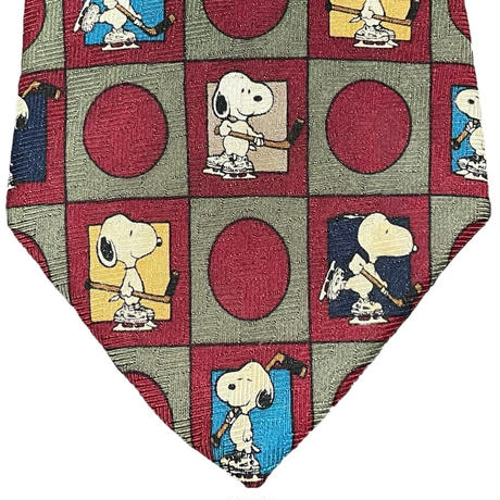 MADE IN USA製 VINTAGE PEANUTS SNOOPY シルクネクタイ エンジ Fサイズ