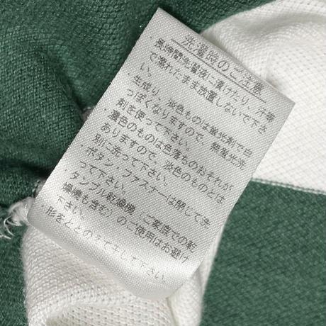 MADE IN JAPAN製 LACOSTE グラデーションボーダー柄半袖鹿の子ポロシャツ グリーン×ホワイト 3/Sサイズ