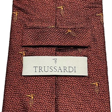 MADE IN ITALY製 TRUSSARDI シルクネクタイ ブラウン Fサイズ