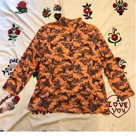 [USED] 珍しい〜カモ柄チャイナシャツ
