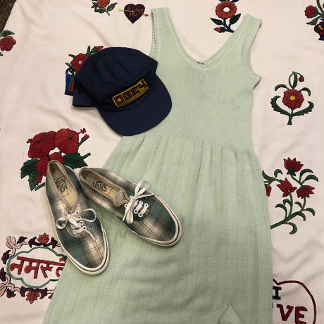 [USED] mint green KNIT ONE-PIECE
