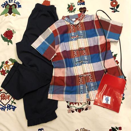 [USED] チェック柄シルクチャイナシャツ♡