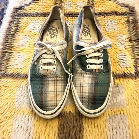 [USED] 90's VANS  AUTHENTIC / GREEN CHECK