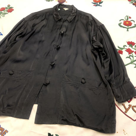 [USED] BLACK  サテンチャイナシャツ風JKT