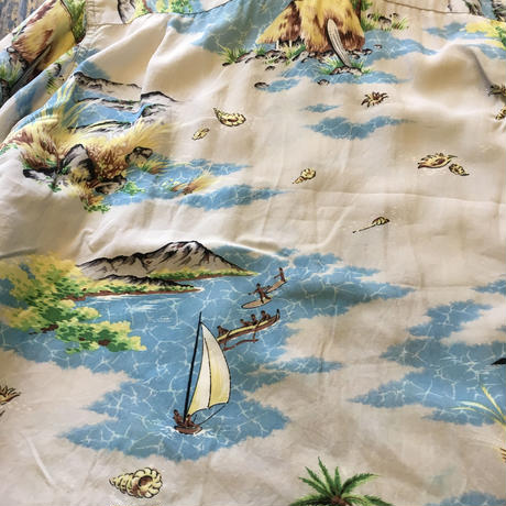 [USED] 50's  vintage L/S アロハシャツ made in Hawaii