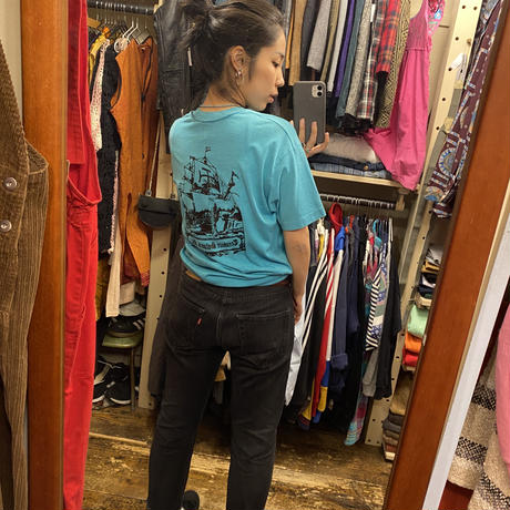 [USED] 70's vintage ターコイズブルーPRINT TEE