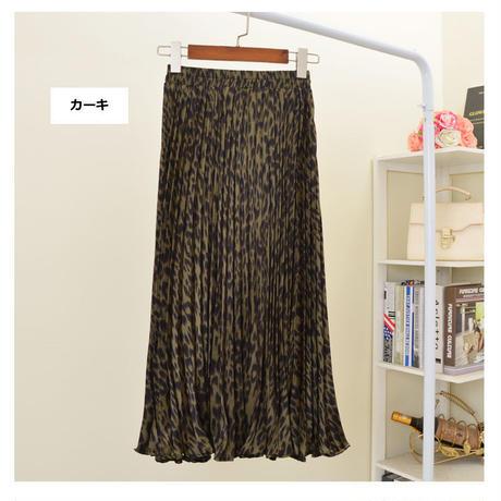 GG カラーレオパードミモレ丈プリーツスカート 4色
