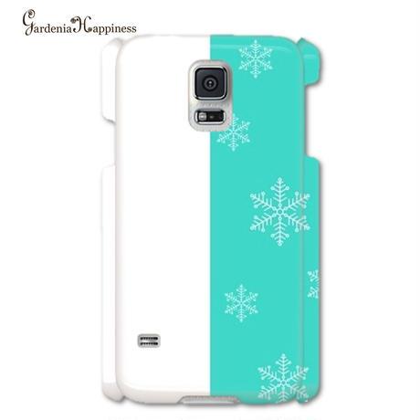 スマホケースAICA-102 エレガントブルー Winter Version 雪の結晶  大きいサイズiPhone6Plus/6sPlus他