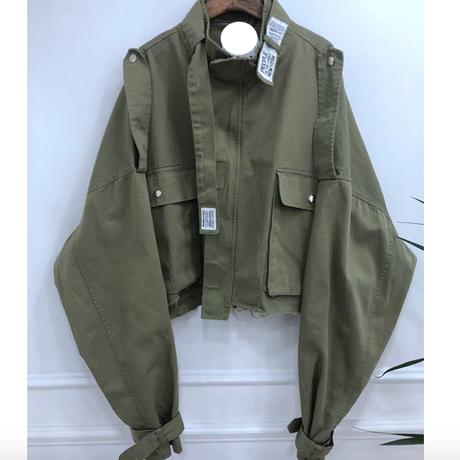 AI 韓国ミリタリービックシルエットボリューム袖ジャケット