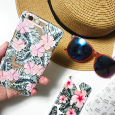 スマホケースAICA-63  水彩画ハイビスカス iPhone6Plus/6sPlus、Xperia Z5 Premium(SO-03H)、ARROWS NX(F-02H)