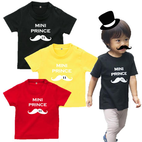 MINI PRINCE 男の子ベビーTシャツ(ヒゲ)文字ホワイト