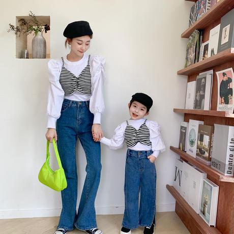 【子供用】パワーショルダーコットン&ニットトップス 90-110