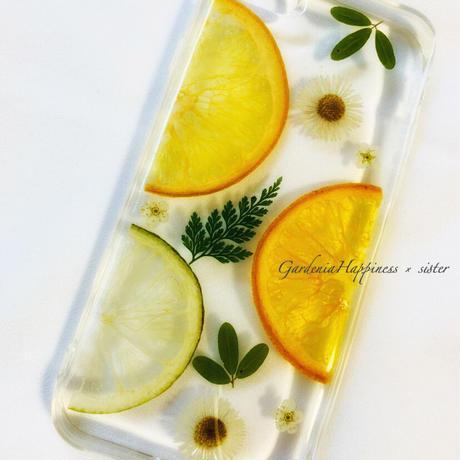 【在庫あり】オレンジ&押し花の爽やかスマホケース iPhoneケース