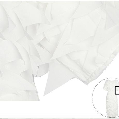 EZ 2017春夏ふんわり立体デザイン膝下ホワイトワンピース