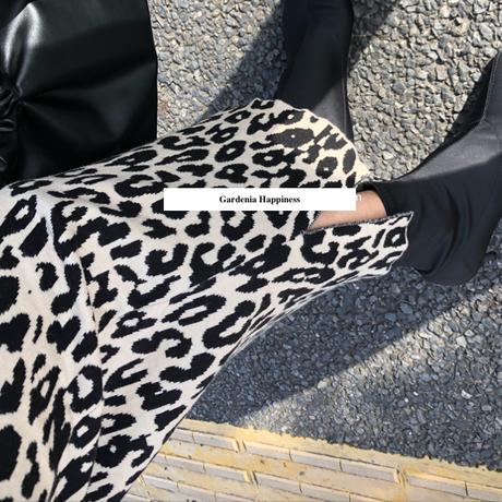ミモレ丈&ロングニットヒョウ柄スカート