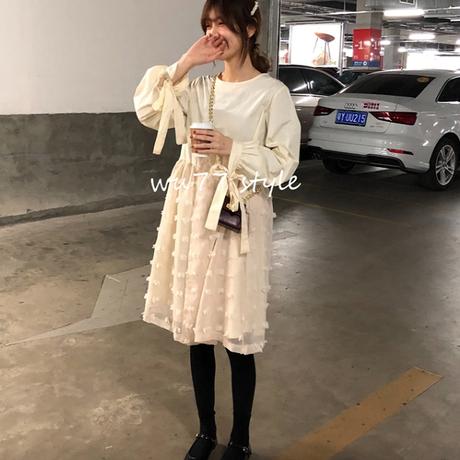 袖リボンフリンジベールガーリードレス/ワンピース2色 93