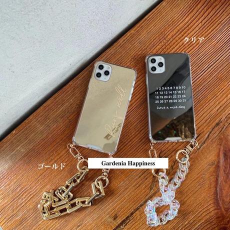 【iphone12〜】プレミアム2色チェーンミラースマホケース