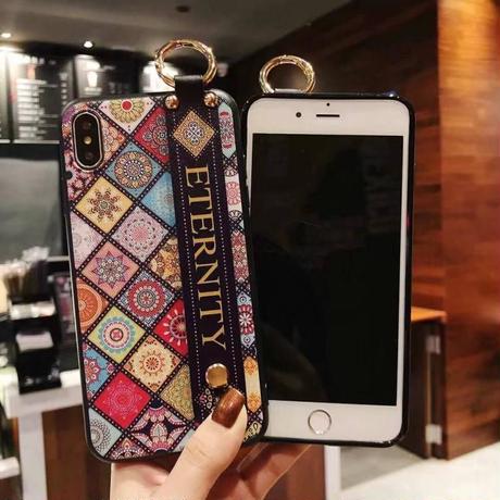 【即発あり】カラフルブロックエスニック柄バンド付 iphoneケース 2色
