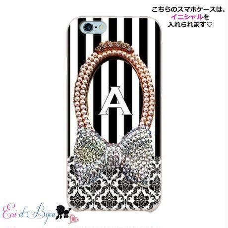スマホケースERICA-27 ダマスク柄×ストライプ ブラック② iPhone5/5s/SE/5c/6/6s/Android