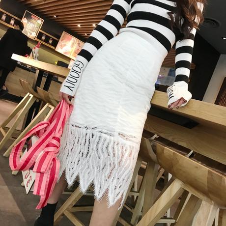 【在庫あり】LE 春ホワイトレースタイト膝丈スカート XS-L