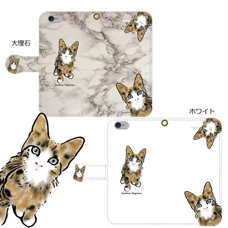 手帳型スマホケース AICA-88 子猫ちゃん(4カラー)大きいサイズiPhone/Android L