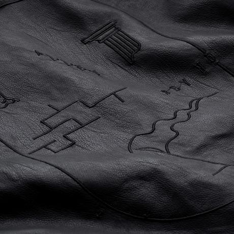 KG バイカラーフード付バック刺繍フェイクレザージャケット