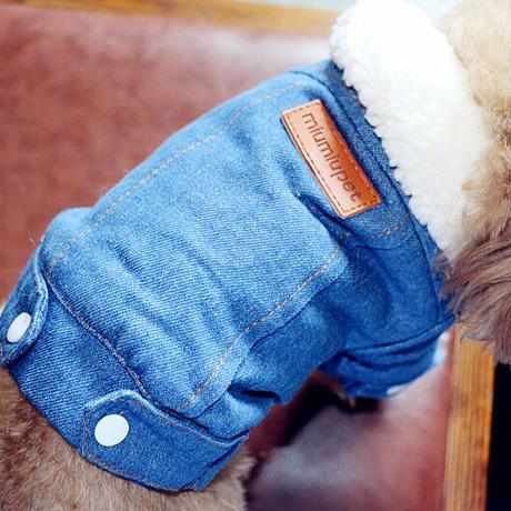 もこもこボアデニム犬猫ウェア XS-XL