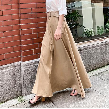 2Lengthセンターボタンロングスカート 2色