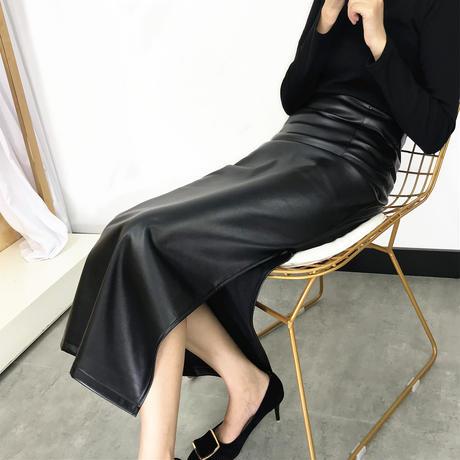 4Lengthフェイクレザーロングスカート XS-XXL