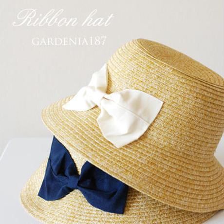 子供用 リボン帽子  (リボン 白)