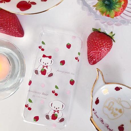即納!【iPhoneケース】Anniversary Bear イチゴ&サクランボ