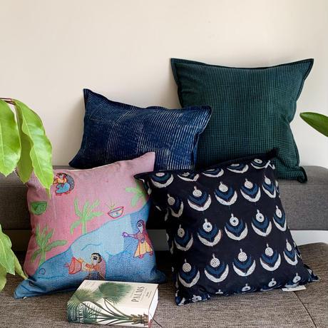 Hand Block Printed Cushion Cover 45*45 (Blue & Black Flower)