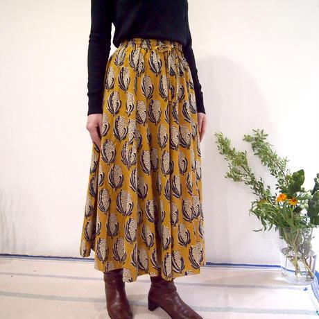 Hand Block Printed Mermaid Skirt (Yellow Flower)