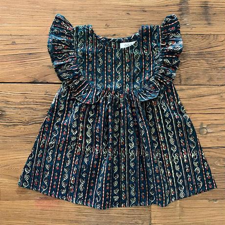 GAYA Renu, Frilly Dress (Barotra Green Stripe)