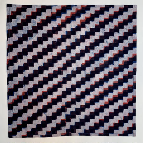Hand Block Printed Handkerchief (Marigold & Zig-Zag)