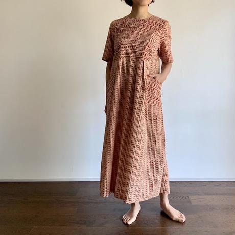 Hand Block Printed Stripe Maxi Dress (Red Arabesque)