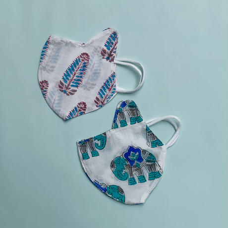 Kids Face Masks Two-Pack (Elephant & Acanthus)