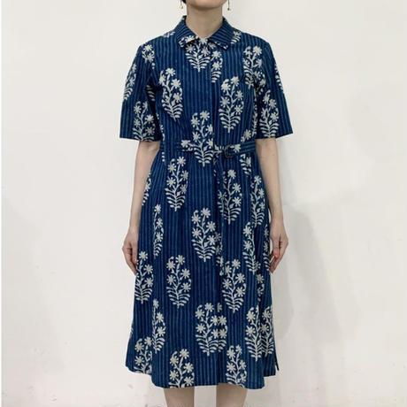Hand Block Printed Belted Midi Dress