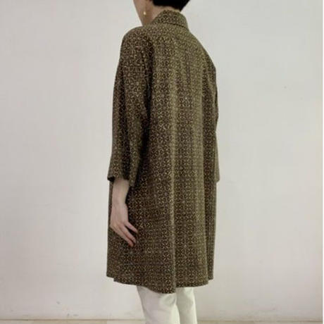 [One of a Kind] Hand Block Printed Tunic Shirt (Ajrakh Gray Flower)