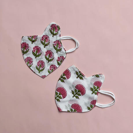 Kids Face Masks Two-Pack (Pink Flowers)